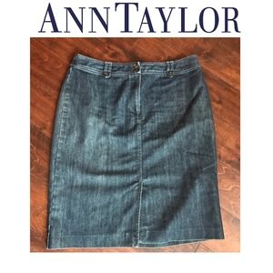 ANN TAYLOR Darkwash Denim Pencil Skirt buttons